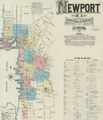 Newport, Road Island~Sanborn Map© sheets 1884 with 15 maps on CD
