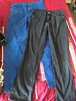 Two Pairs Of Boys Slim Fit Jeans Blue Pair Age 10-11 & Black Pair Age 9-10