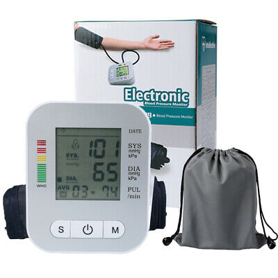 Auto Digital Upper Arm Blood Pressure Monitor LCD Screen Heart Rate w/ Voice