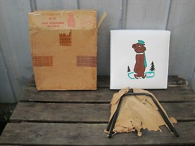 Vintage 1960 Mid Century Nasco Child's Padded Foot Stool With A Bear - NOS B9678
