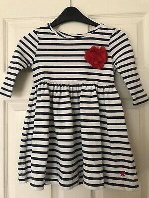 Girls JOULES White/Navy Striped Dress with red flower corsage. Age 5 years