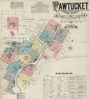 Pawtucket, Road Island~Sanborn Map© sheets 1884 with 16 maps on CD