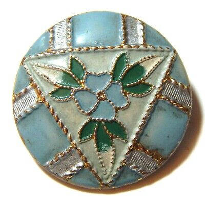 SWEET ANTIQUE FRENCH VICTORIAN BRASS & ENAMEL BUTTON w/BLUE, GREEN+WHITE POSIES