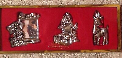 Christmas Ornament Gorham Silver Plate North Pole 3 pc Set Santa Reindeer