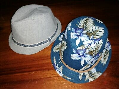 *River Island* Gorgeous Boys Grey Floral Print Tropical Trilby Hats X2 Holiday
