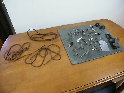 Antique OLD Singer Treadle Sewing Machine ATTACHMENTS LOT Belts Cloth Plate +