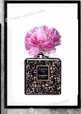Coco chanel glitter effect wall print art home decor perfume picture poster UK