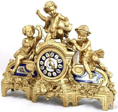 Antique French Mantle Clock Musical Trio Gilt Metal & Blue Sevres 8 Day Striking