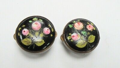 Two antique gold metal & hand painted French jet flower design buttons/studs