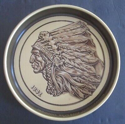 Iroquois Indian Head Beer Tray, International Breweries, Buffalo, NY, GOLD