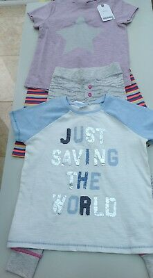 Next girls 2 tee shirts, leggings and pyjama bottoms age 3-4 years