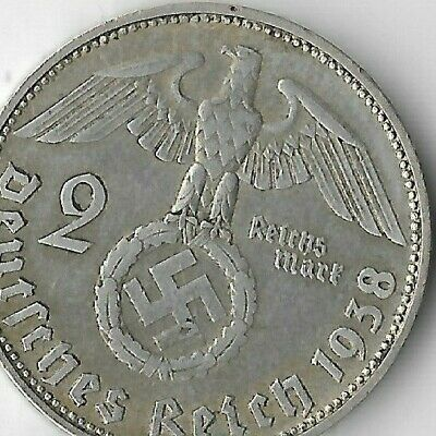 Rare Old German Silver 1938-D WWII Germany Eagle Great War WW2 Collection Coin