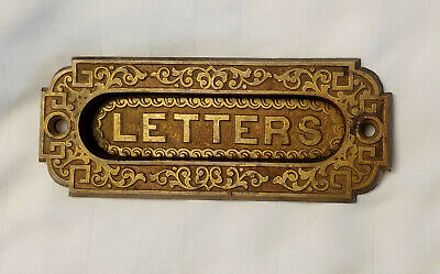 Vintage Antique Cast Brass Victorian Letters Mail Slot Door