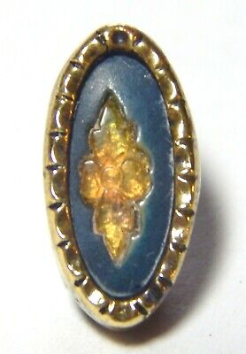 RARE ANTIQUE VICTORIAN GILT BRASS WAISTCOAT BUTTON w/CHASED HONEY HORN FLOWER