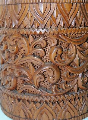 Vintage Chinese Tea Caddy - Hand Carved Wood - Acanthus Leaves