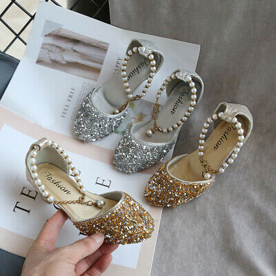 Toddler Girls Shoes Pearl Fashion Sequins Single Kids Baby Princess Dance Shoes