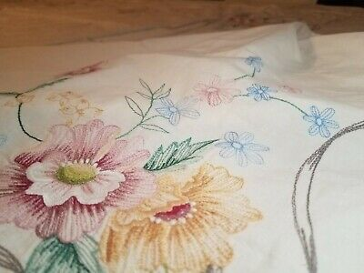Rectangle White floral Embroidered Tablecloth Party Banquet Estate Attic find