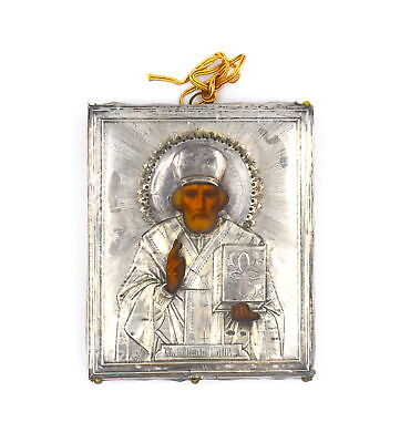 Antique Russian Hand Painted St Nicholas Myra Plaque 875 Silver Religious Icon