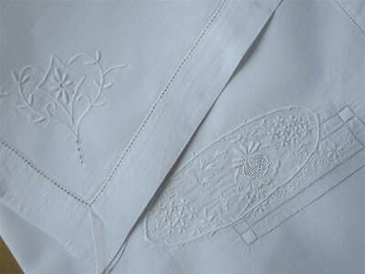 Two Large Vintage Antique White Linen/Hand Embroidered Pieces