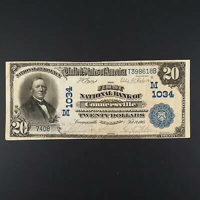 1902 $20 First National Bank of Connersville, Indiana National Currency M1034