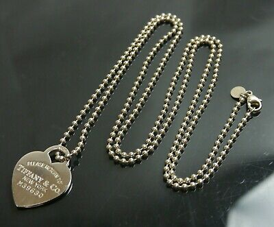 Authentic Tiffany & Co. Necklace Return to Heart Long Sterling Silver #500