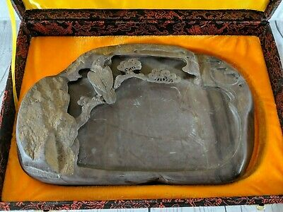Hand carved Chinese Duan Ink Stone with Pine tree and Crane in box