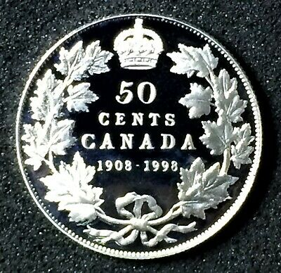 Canada 1908-1998 50¢ Sterling Silver RCM's 90th Proof, Coin only.J189