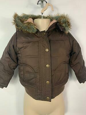 Girls Baby Gap Brown Winter Padded Hood Casual Rain Coat Jacket Kids Age 3 Years