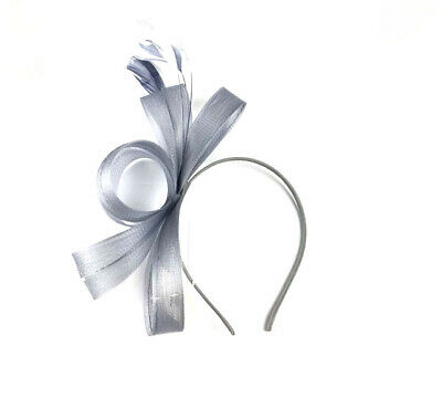 Large Silver Feather Fascinator Aliceband Headband Ladies Day Races Wedding