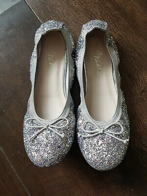 Girls Next Ballet Flat Shoes Silver glitter Sparkly Size 2