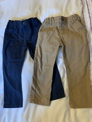 Boys Chino Style Trousers Bundle M&S Age 2-3 Years Navy And Sand