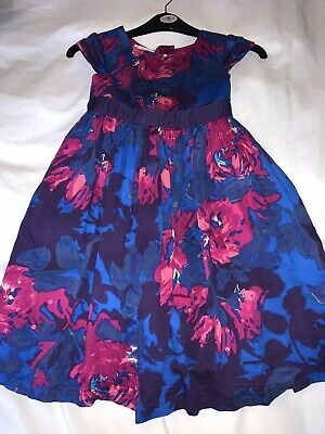 John Lewis Girls Party dress Age 8 Years Blue Red Floral Wedding Christening