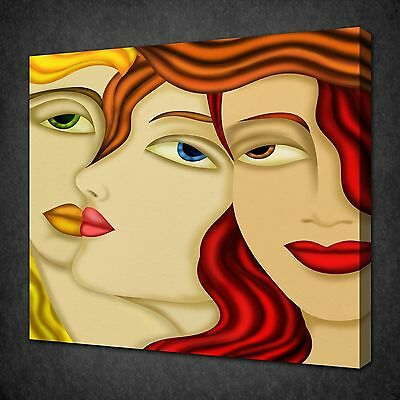 Women Faces Abstract Design Modern Canvas Wall Art Picture Print Ready To Hang
