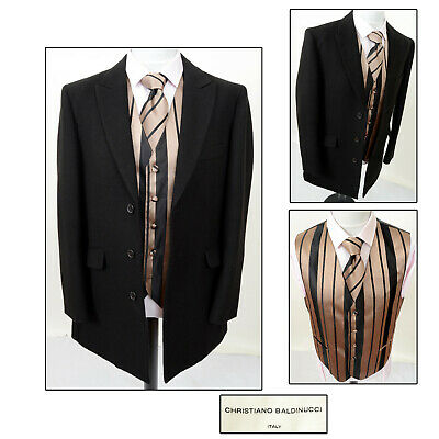 Mens Black Wedding Jacket Frock Coat + Gold Black Vest Waistcoat Tie Med 38 40
