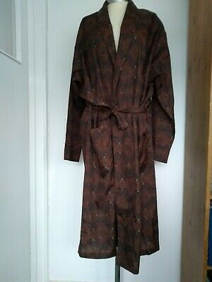 Vintage Mens Brown Paisley Tootal Dressing Gown Robe Size Extra Large