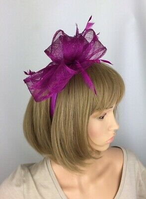 Magenta Fascinator Pink Purple Bow Races Mother of the Bride Wedding Ascot