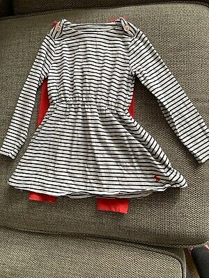Joules Girls White/Blue Stripey Dress and Red Leggings Age 4