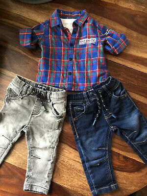 2 Boys Soft Stretchy Jeans NEXT and Shirt/ Tshirt River Island. 3-6 Months.