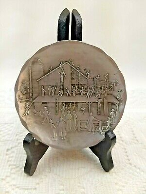 """Hand Forged Aluminm Amish Barn Raising Plate 4 1/2"""" Wendell August Forge Coaster"""