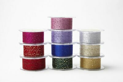 May Arts 38mm Glitter Dots on Sheer Ribbon - price per metre or by the roll