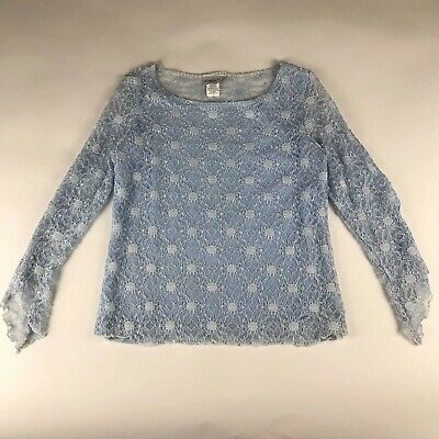 Fashion Bug Long Sleeve Lace Top Blouse Womens Size Large Blue Floral Sheer