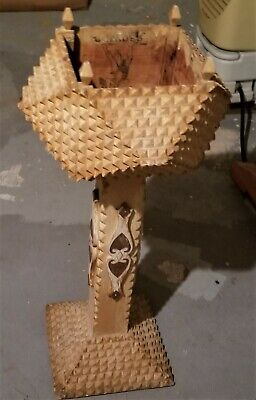 Hand Carved Tramp Plant Stand-   90 + Years Old