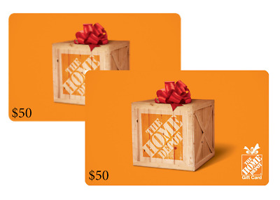 $100 (2 x $50) Home Depot Cards - Standard 1st Class Mail Delivery