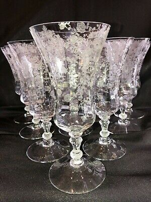 10 Antq. Cambridge Glass Rose Point Clear 3500 Elegant Crystal Iced Tea Goblets
