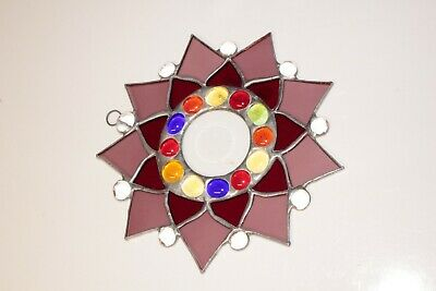 One Leaded Stained Glass Round Sun Catcher  Hanging 7''  #6