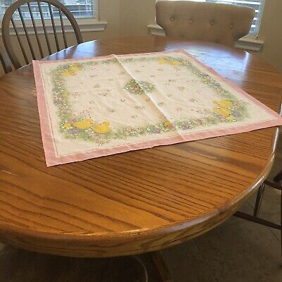 """Table Topper Tablecloth Easter Chicks Eggs Spring Pink Border Cotton 29"""" x 31"""""""