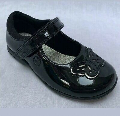 Clarks Girls Trixi Rose Black Patent Leather Lights School Party Shoes NEW