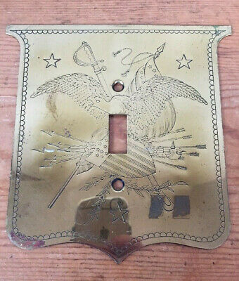 Vtg Antique Patriotic American Eagle Solid Brass Light Switch Wall Plate Cover