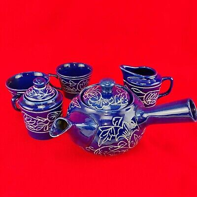 Antique Oriental Tea Set - Cobalt Blue Floral Pattern Ceremony Chinese or Nippon