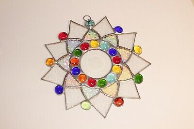 Leaded Stained Glass Round Sun Catcher  Hanging 7''  #9